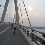 biking over the bridge