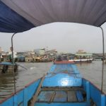 view of the floating market from our boat