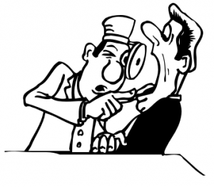 Clip Art of Dentist Looking in Patient's Mouth