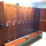 brown lockers with combination locks